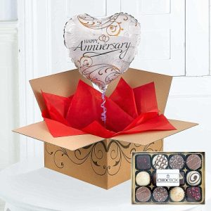 Happy Anniversary Balloon In A Box Chocolates 1799 FREE Delivery